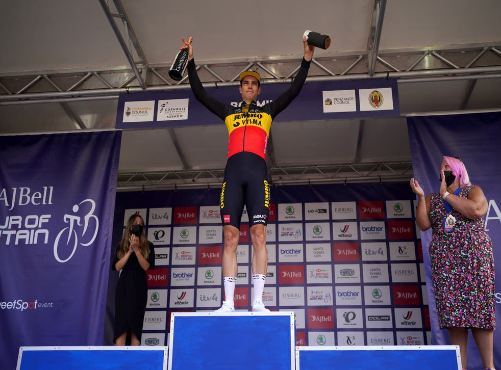 Team Jumbo-Visma's Wout Van Aert celebrates on the podium after winning stage one of the AJ Bell Tour of Britain from Penzance to Bodmin. Picture date: Sunday September 5, 2021.