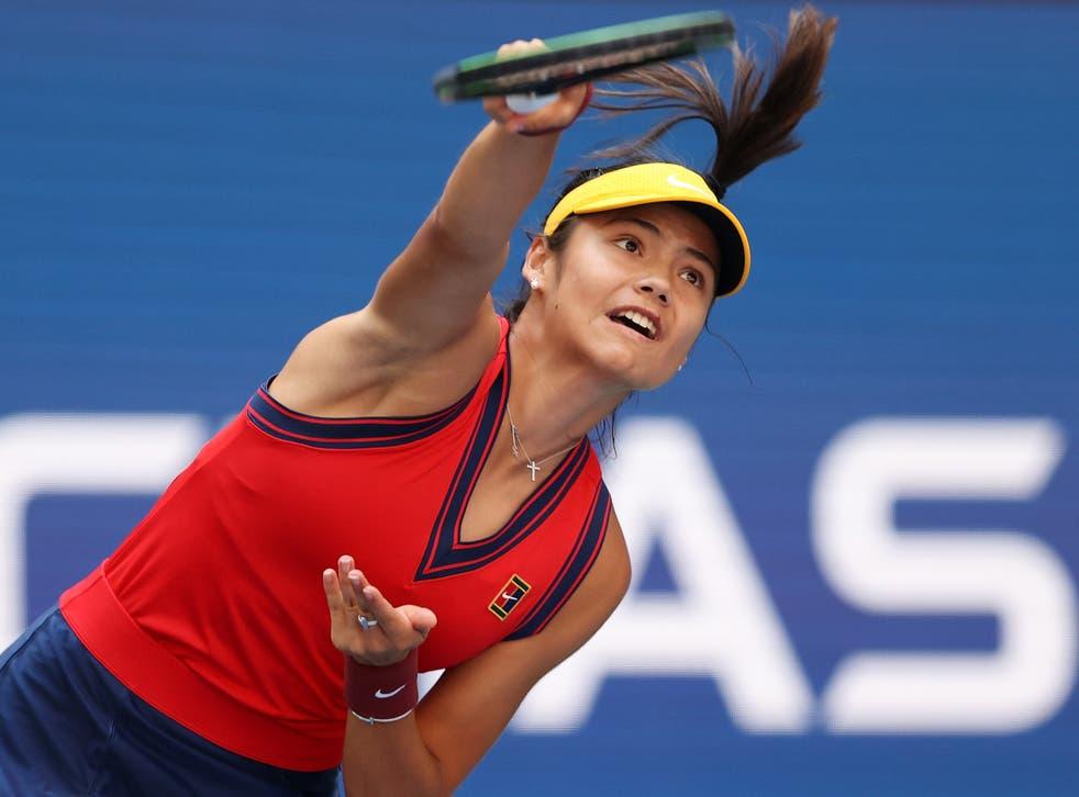 <p>Emma Raducanu serves against Belinda Bencic in the US Open quarter-finals</p>