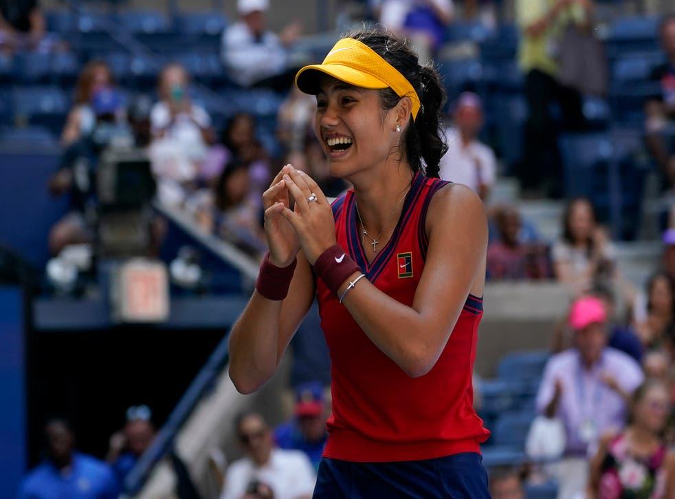 Emma Raducanu celebrates after beating Belinda Bencic in the US Open quarter-finals (Elise Amendola/AP)