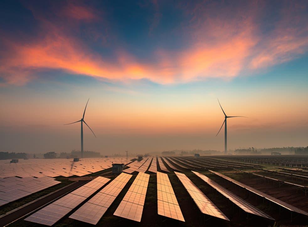 <p>Solar power plants in the evening dusk</p>