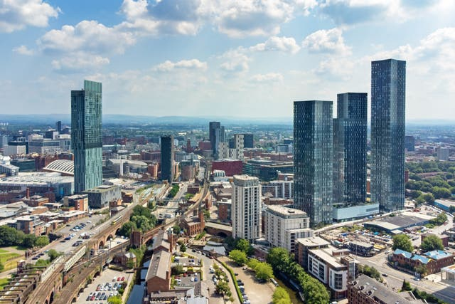 <p>An aerial view of Manchester</p>