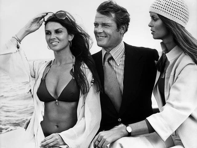<p>Caroline Munro, Roger Moore and Barbara Bach in 'The Spy Who Loved Me' (1977)</p>