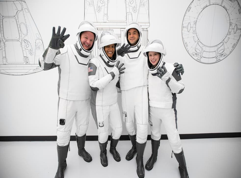 <p>Hayley Arceneaux, on the right, with the rest of her crew </p>
