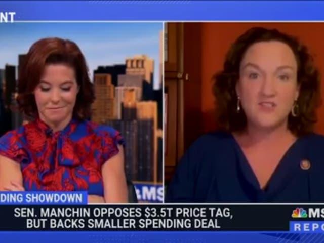 <p>Congresswoman Katie Porter challenges Joe Manchin for holding up $3.5 trillion reconciliation bill</p>