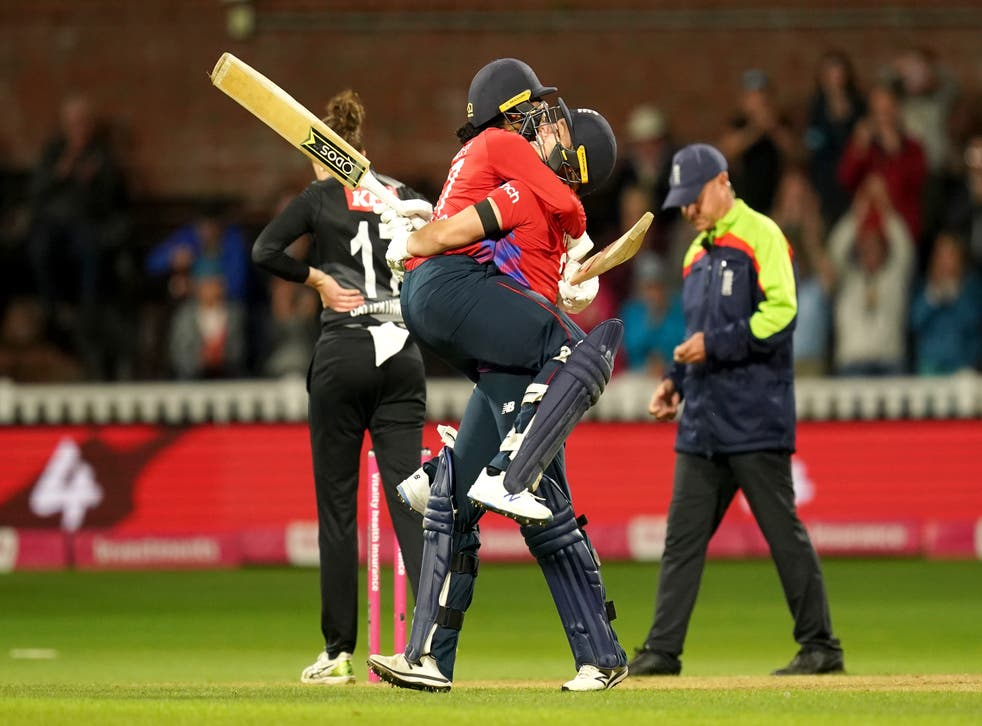 England clinched the T20 series against New Zealand in the final over of the match at Taunton to win by four wickets (David Davies/PA)