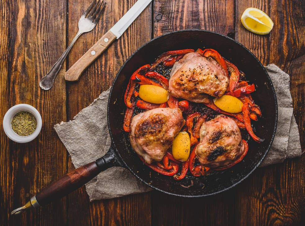 <p>Chicken perfumed with garlic and rosemary is an easy, welcome partner for peppers in this dish</p>