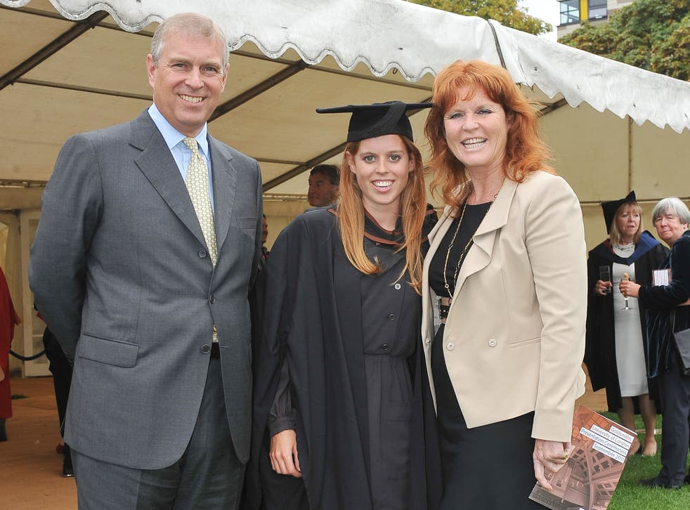 <p>Prince Andrew, The Duke York (L), Sarah, Duchess of York (R) and their daughter, Princess Beatrice, following her graduation ceremony at Goldsmiths College</p>