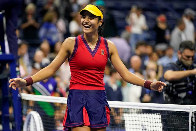 <p>Emma Raducanu reacts to her semi-final win at the US Open </p>