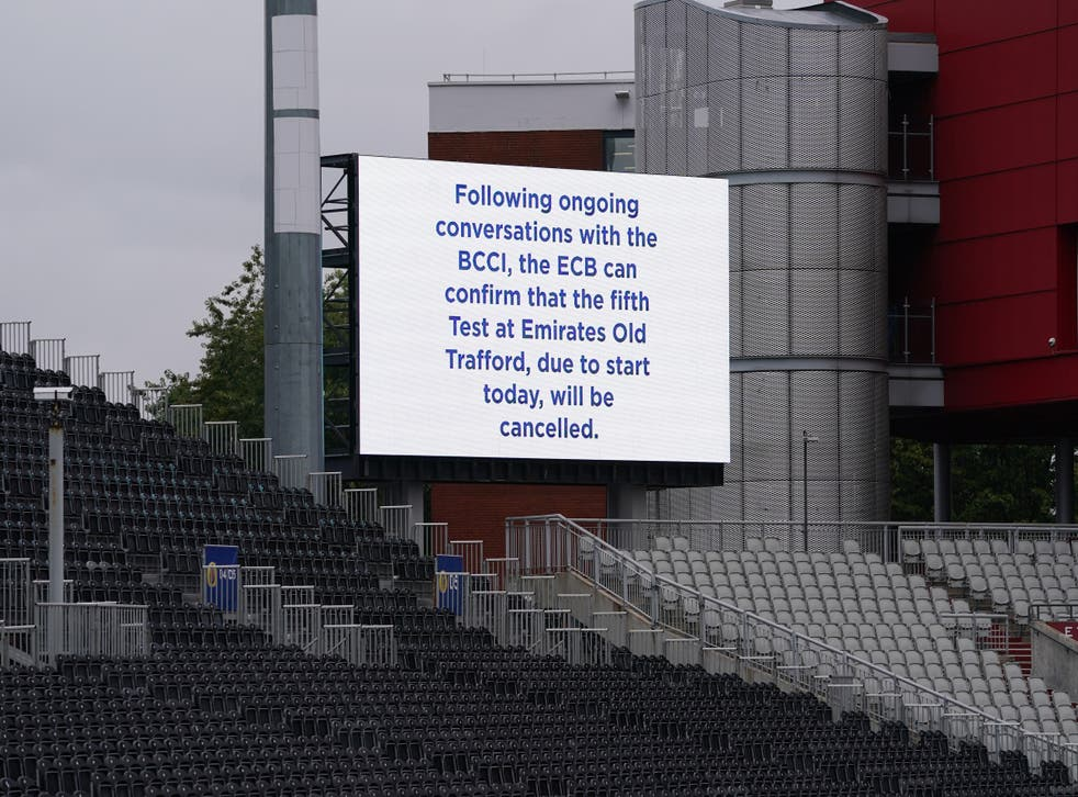 A view of a message displayed at Emirates Old Trafford (PA)