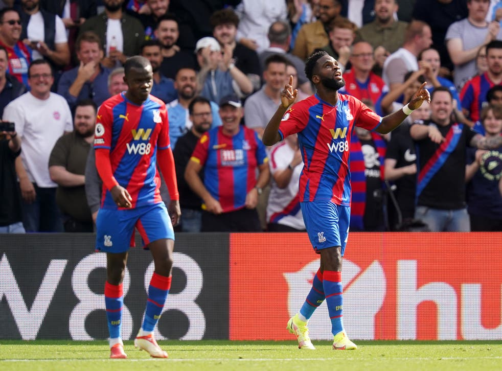 <p>Odsonne Edouard (right) celebrates his first goal for the club at Selhurst Park </p>