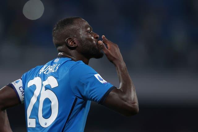 Kalidou Koulibaly celebrates scoring Napoli's late second goal against Juventus (Alessandro Garofalo/AP)
