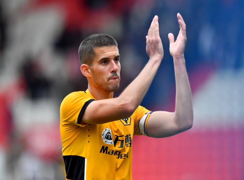 Conor Coady was finally able to celebrate victory (Anthony Devlin/PA)