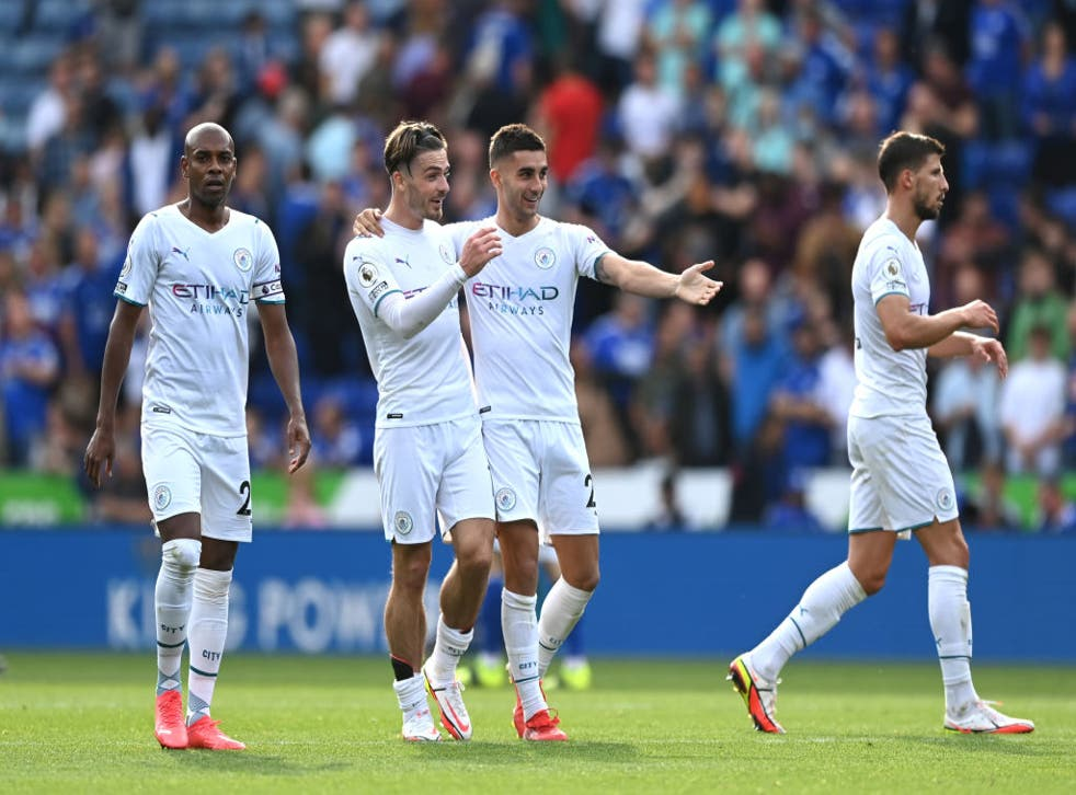 <p>Fernandinho, Jack Grealish and Ferran Torres celebrate their side's victory at the King Power Stadium on Saturday </p>