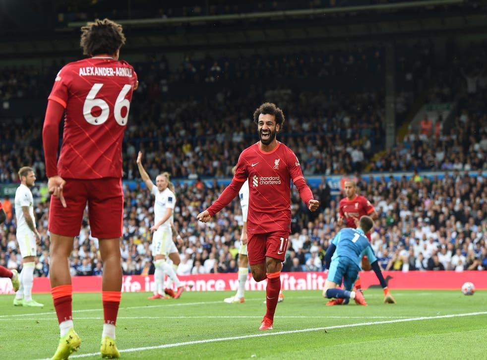 <p>Salah struck his 100th Premier League goal</p>
