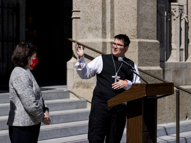 <p>Bishop Megan Rohrer speaks to the press before their installation ceremony at Grace Cathedral in San Francisco, Saturday, Sept. 11, 2021</p>