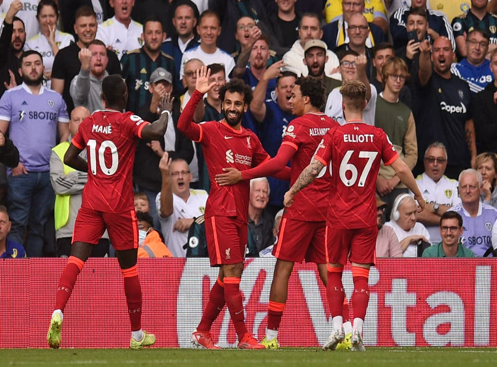 <p>Mo Salah takes the plaudits after his opening goal against Leeds </p>