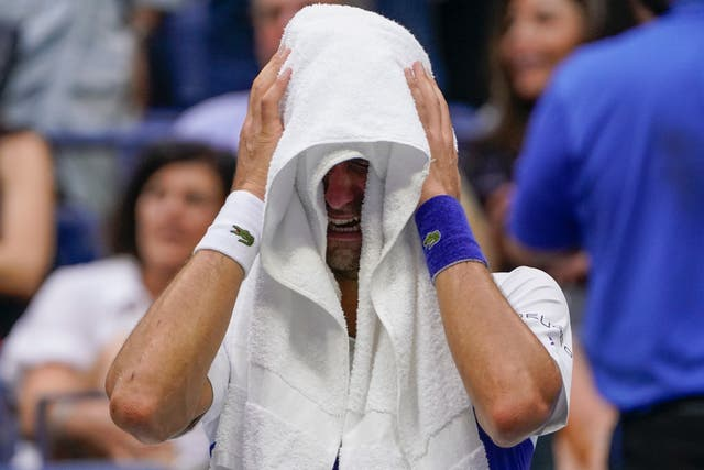 Novak Djokovic sobs during the final changeover (John Minchillo/AP)