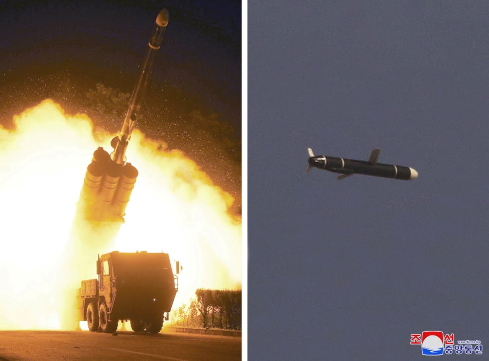 <p>Images from North Korean media purport to show 'The Academy of National Defense Science' conducting long-range cruise missile tests</p>