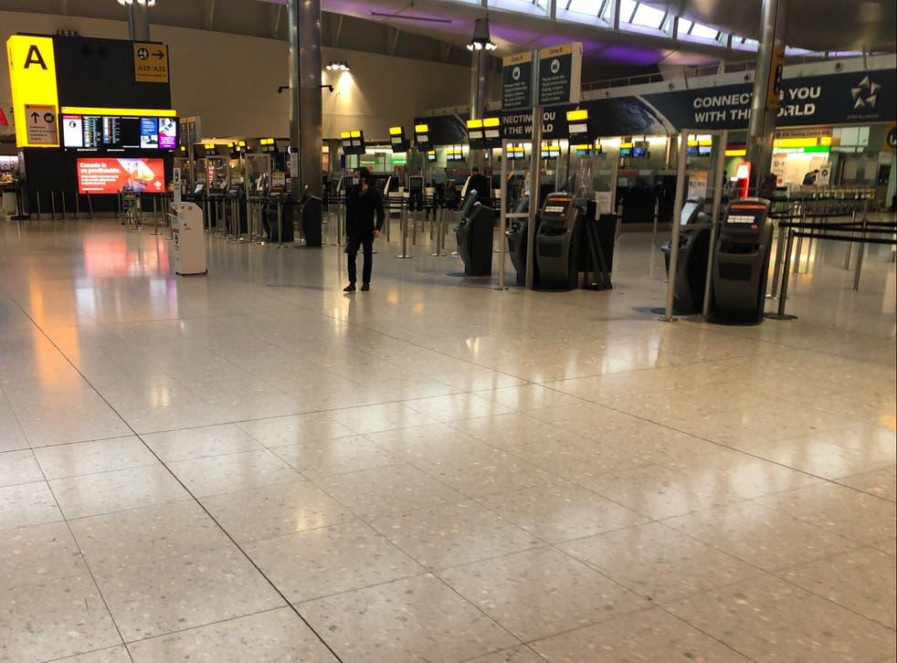 <p>Empty quarter: Heathrow Terminal 2 on Sunday afternoon</p>