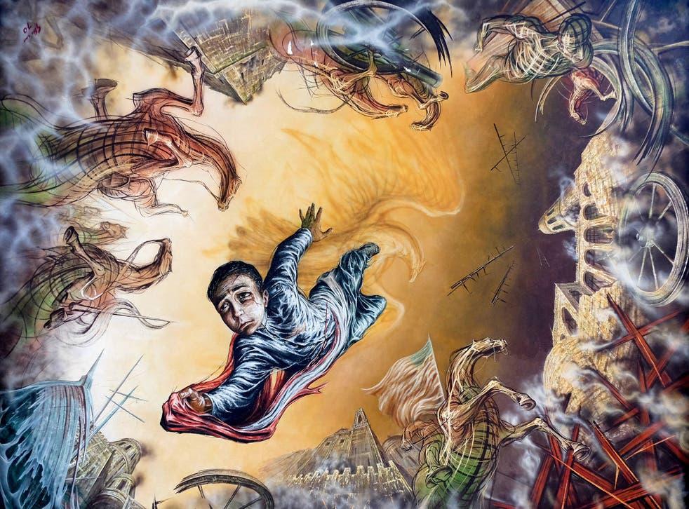 <p>Detalle de un mural de Gabriel Flores en el techo del Castillo de Chapultepec, que muestra a Juan Escutia saltando desde los muros del castillo hasta su muerte envuelto en la bandera mexicana para evitar que cayera en manos de los Estados Unidos.</p>