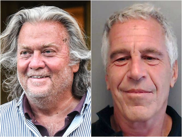<p>Steve Bannon has been accused of media coaching Jeffrey Epstein in 2019, an allegation Mr Bannon denies</p>