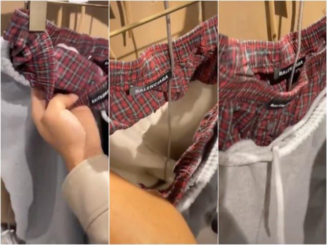 <p>Los pantalones de chándal grises parecen tener la parte superior de unos boxers asomando por encima de la cintura.</p>