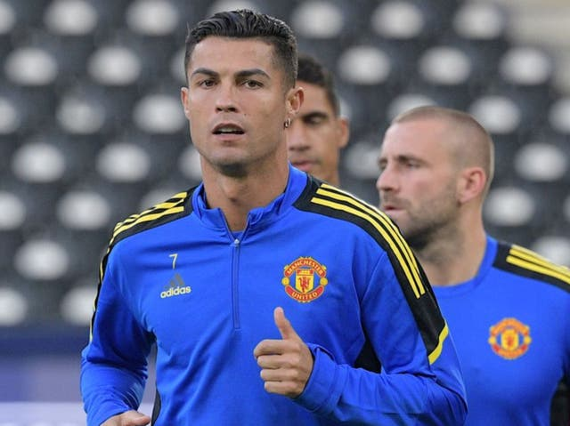 <p>Cristiano Ronaldo trains ahead of tonight's Champions League tie</p>