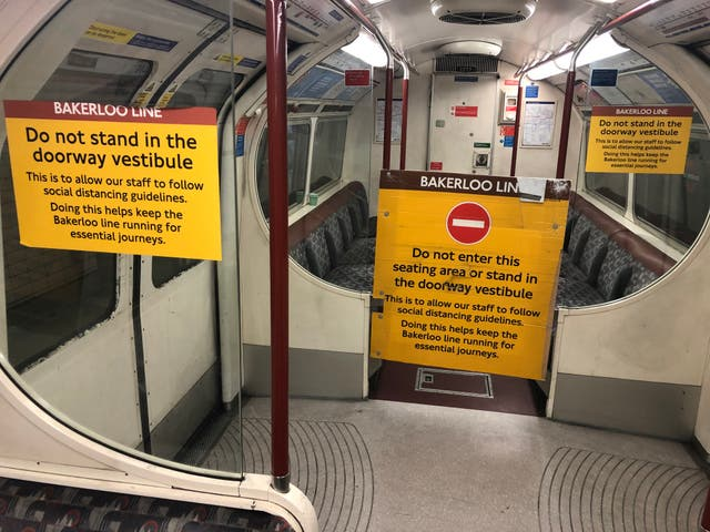 <p>Keep out: warnings to passengers on London's Bakerloo Line</p>