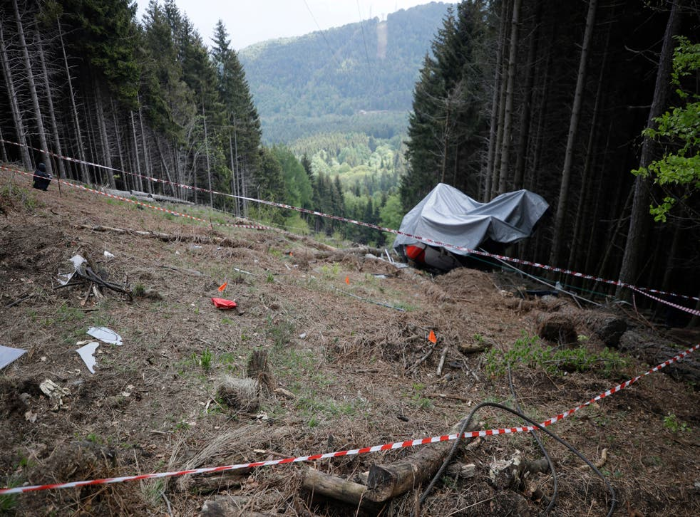 <p>The wreckage of a cable car after it collapsed in May in the Piedmont region, northern Italy </p>
