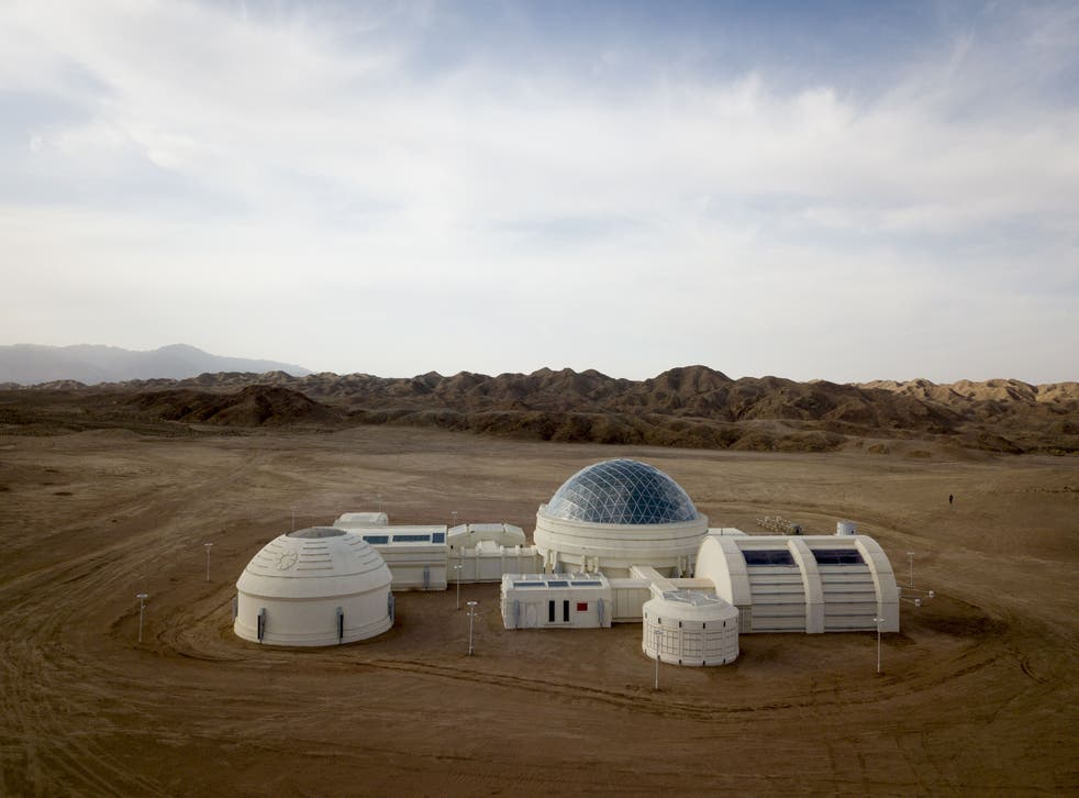<p>File: Aerial photo taken on 17 April 2019 shows 'Mars Base 1', a C-Space Project in the Gobi desert, some 40 kilometres away from Jinchang in China's northwest Gansu province</p>