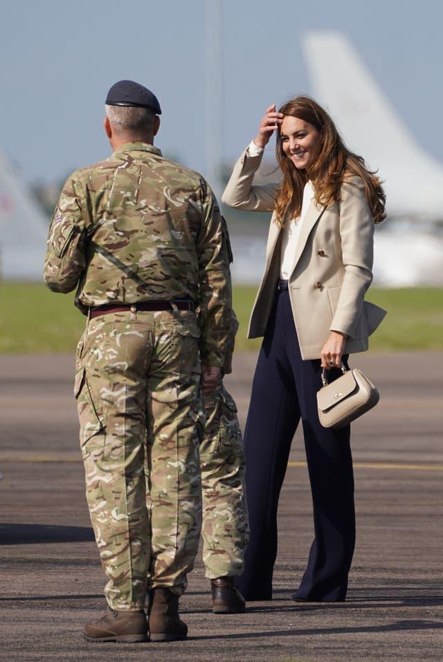 The Duchess of Cambridge arrives for a visit to RAF Brize Norton (Steve Parsons/PA)