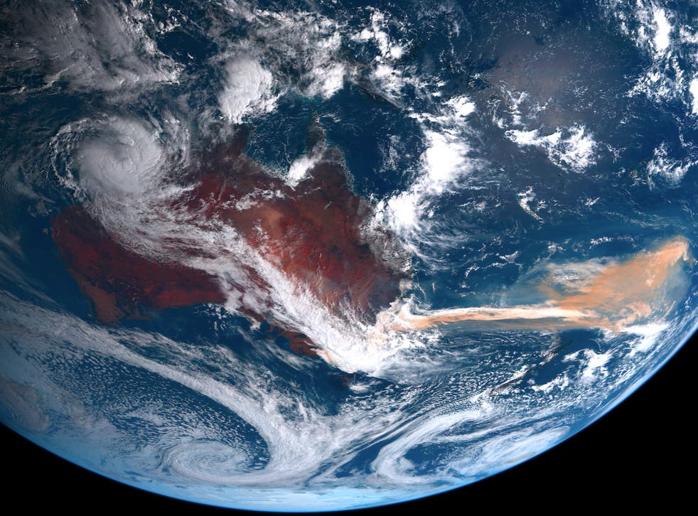 <p>A satellite image shows smoke from the 2019-20 Australian wildfires covering parts of the Southern Ocean</p>