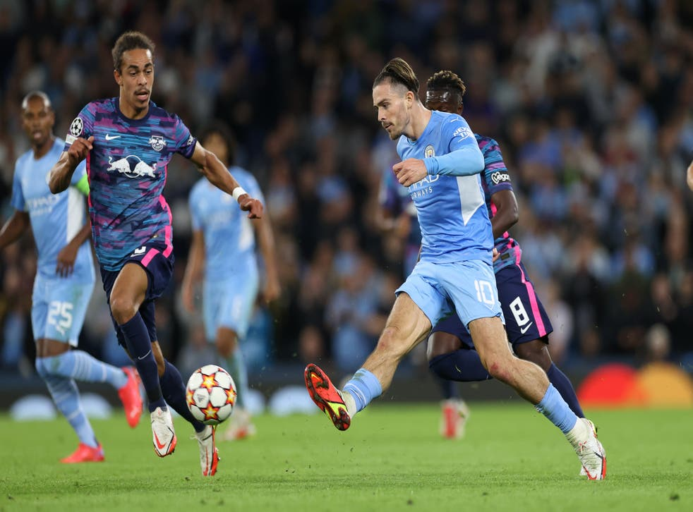 <p>Jack Grealish playing for Manchester City against RB Leipzig in the Champions League </p>
