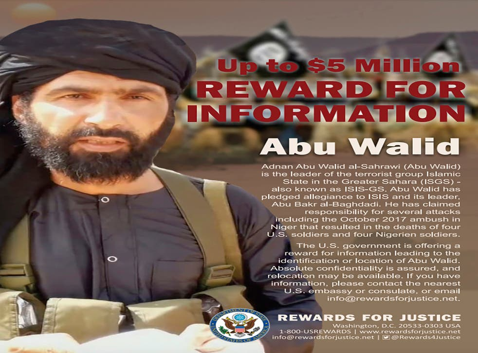 <p>A wanted poster for Adnan Abu Walid al-Sahrawi who is believed to have been killed by France </p>