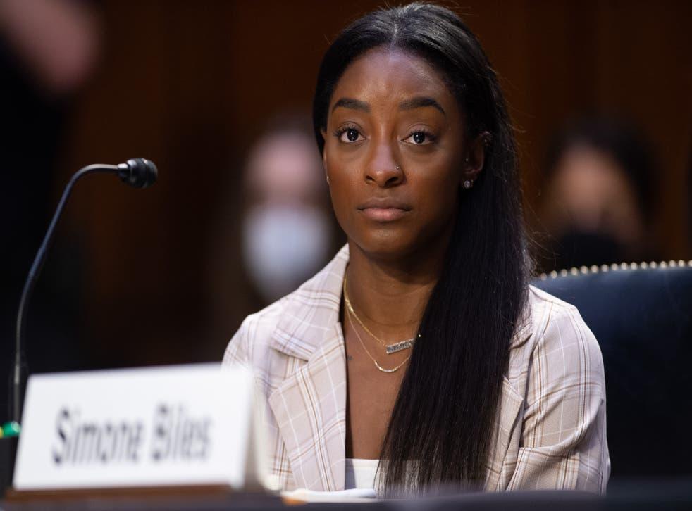 <p>Simone Biles speaks at a hearing at the US Senate </p>