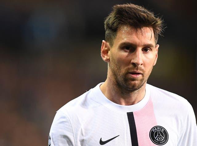 <p>Lionel Messi made his first Champions League appearance for PSG against Club Bruges </p>