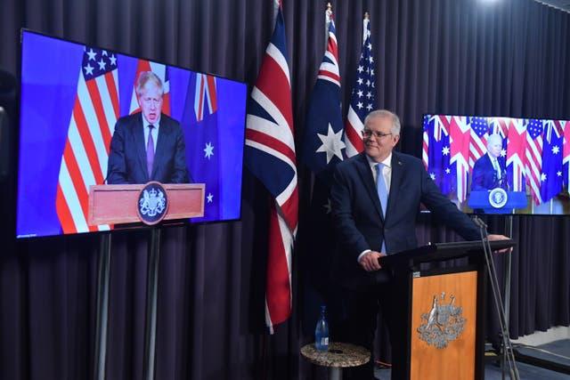 <p>Australian prime minister Scott Morrison announced the deal alongside President Joe Biden and Prime Minister Boris Johnson on Wednesday </p>