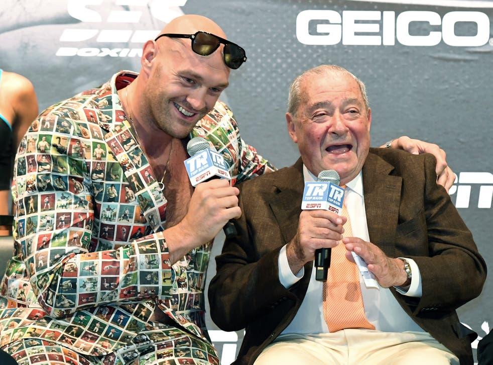 <p>Tyson Fury and promoter Bob Arum </p>