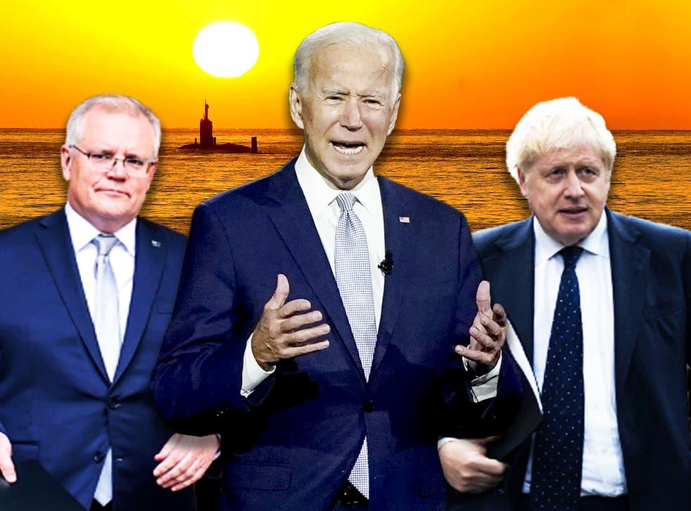 <p>Scott Morrison, Joe Biden and Boris Johnson have all felt France's wrath after the announcement of the Aukus deal </p>