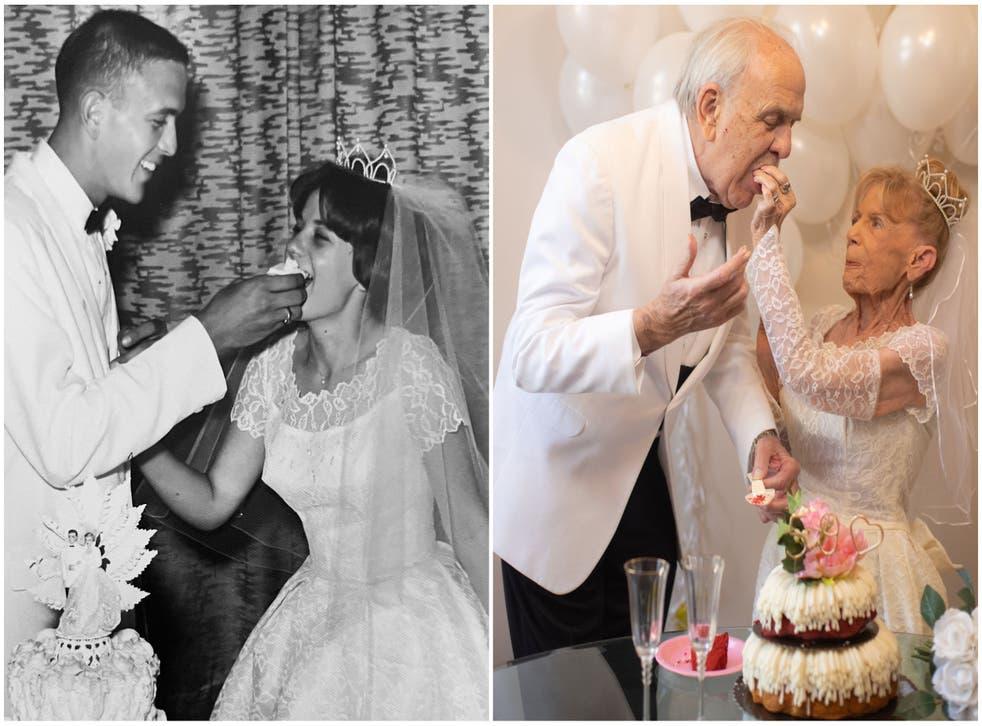 <p>Karen and Gary Ryan wedding day, July 1962 (L) Recreating their wedding photos  (R) </p>