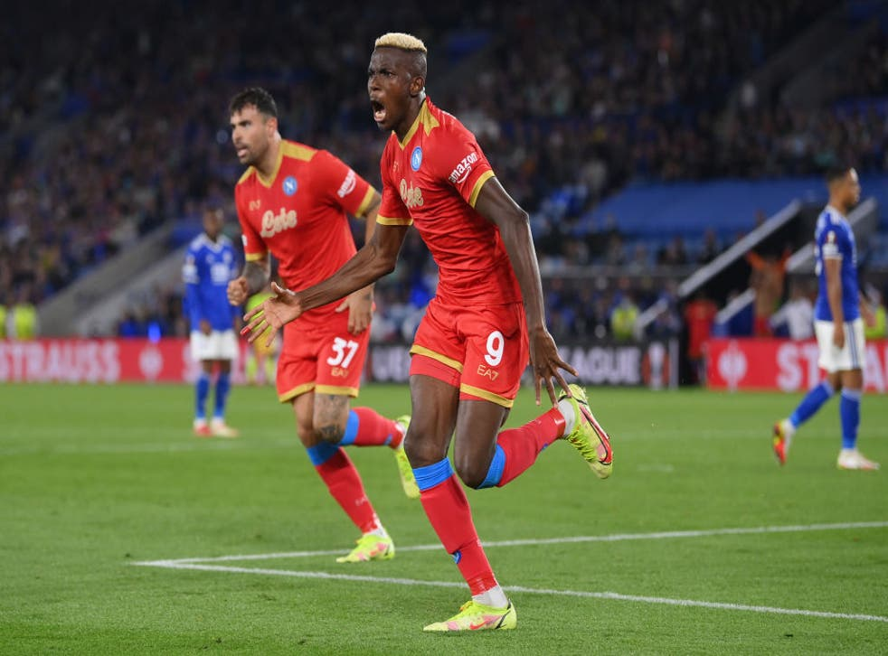 <p>Osimhen netted two second half goals in an inspired Napoli comeback </p>