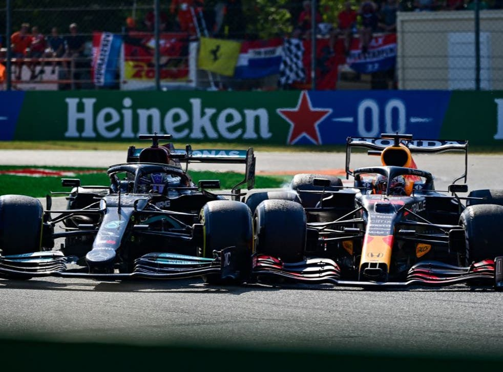 <p>Lewis Hamilton and Max Verstappen took each other out of the Italian GP</p>