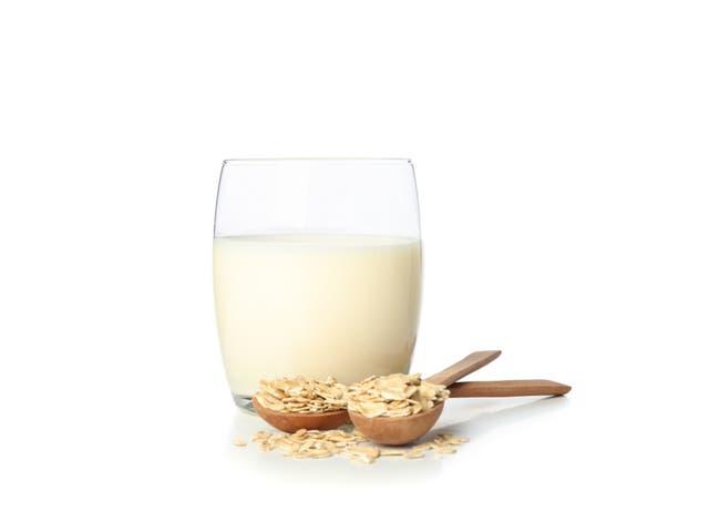 <p>A glass of oat milk </p>