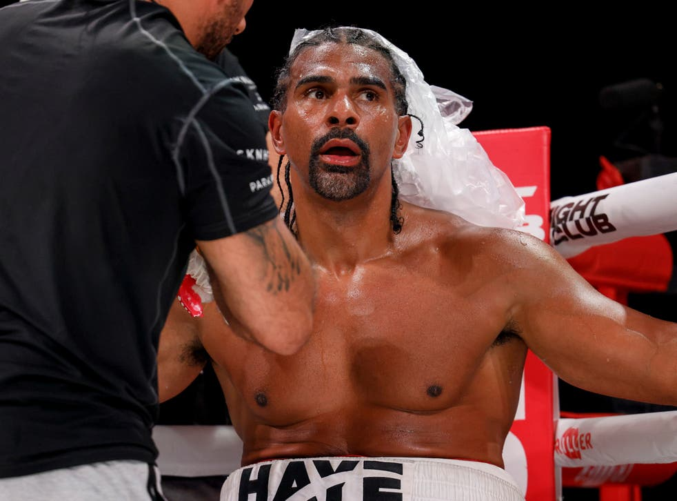 <p>David Haye between rounds of his fight against Joe Fournier this month</p>