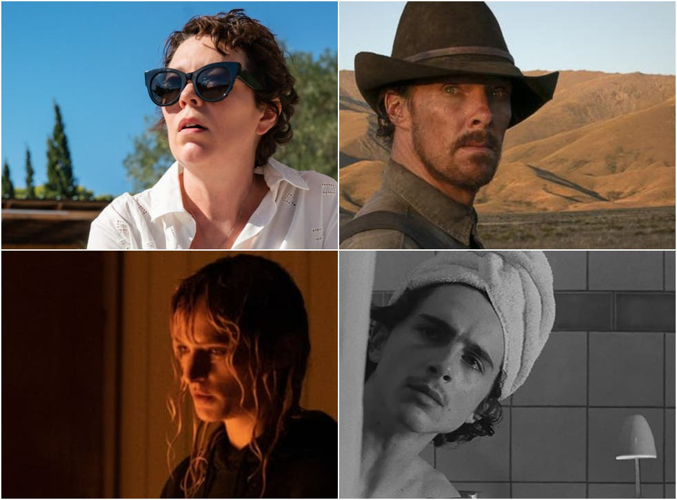 <p>Clockwise from top right: Benedict Cumberbatch in 'The Power of the Dog', Timothée Chalamet in 'The French Dispatch', Agathe Rousselle in 'Titane' and Olivia Colman in 'The Lost Daughter'</p>