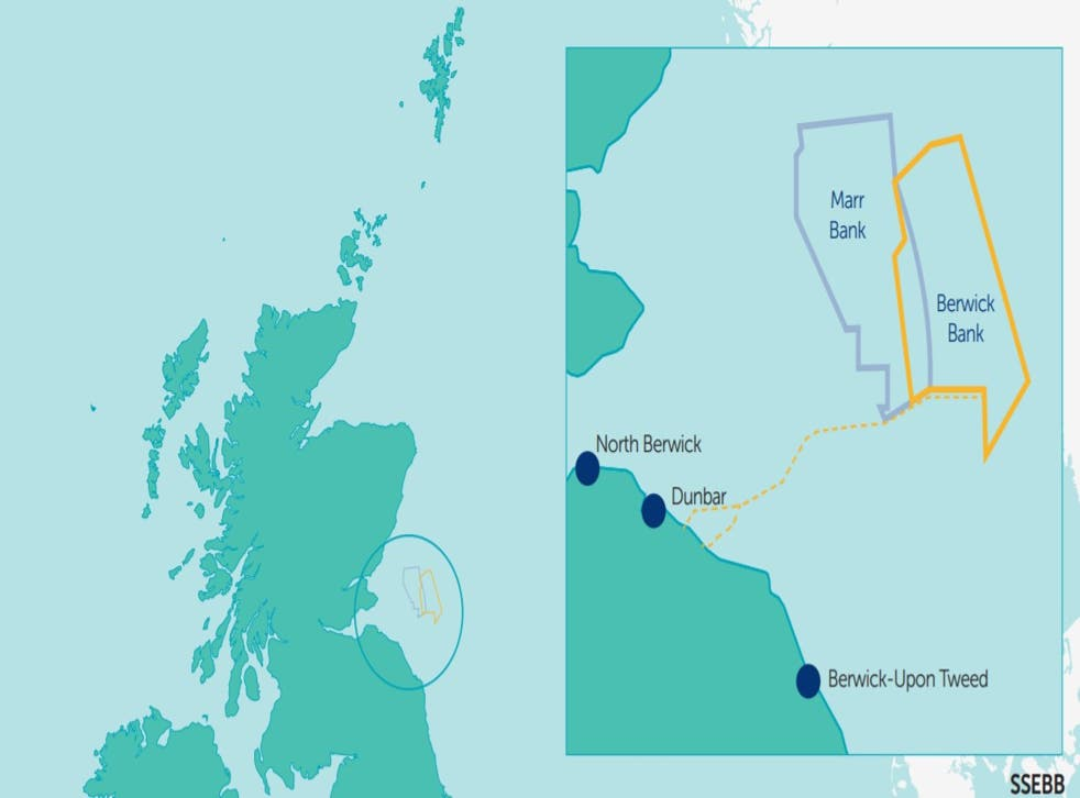 <p>Berwick Bank Wind Farm will be located approximately 40km off the coast of East Lothian</p>