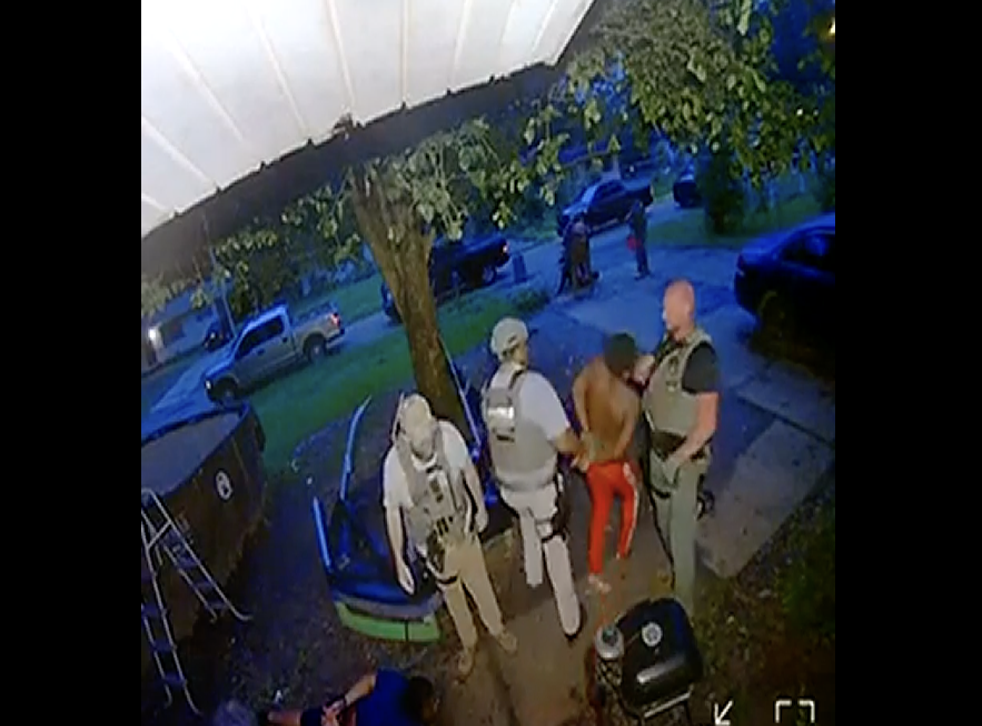 <p>A Ring home security camera captures US Marshals allegedly slapping a handcuffed Black man in the face during an arrest in Jackson, Mississippi.</p>
