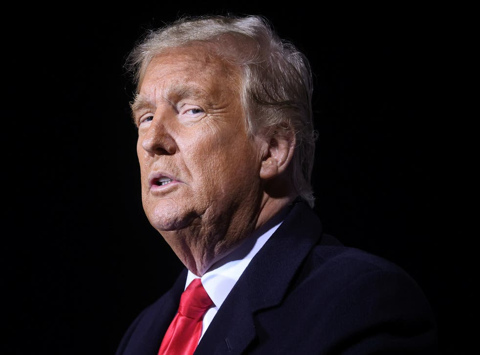 <p>Donald Trump holds a campaign rally in Johnstown, Pennsylvania, in October 2020</p>
