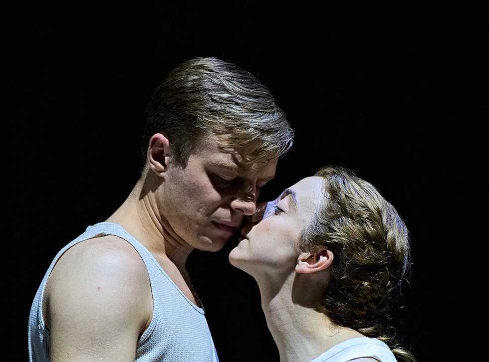 <p>Luke Thallon (Him) and Patsy Ferran (Her) in Camp Siegfried at The Old Vic</p>