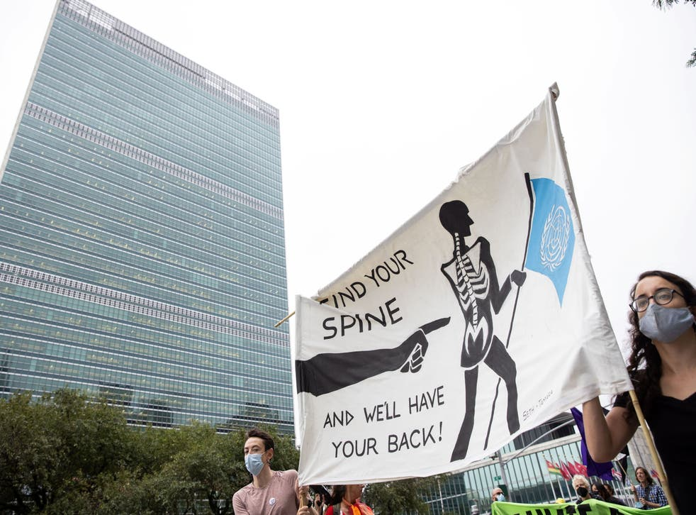 <p>Extinction Rebellion staged a climate emergency protest outside the UN ahead of its general assembly </p>